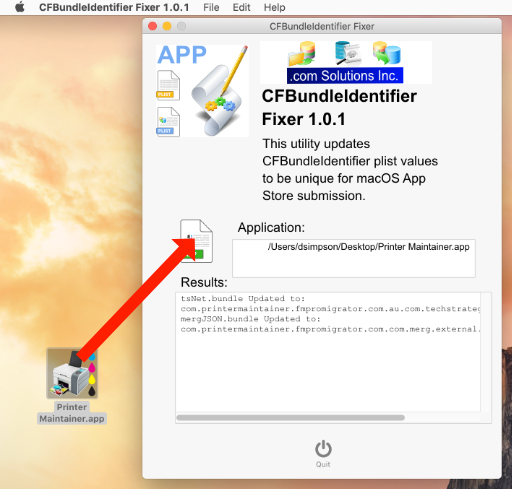 CFBundleIdentifer Fixer - Drag & Drop Application File. First Time Processing Results.