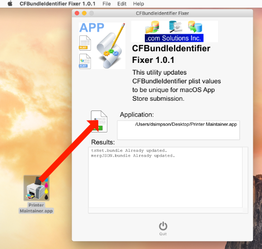 CFBundleIdentifer Fixer - Drag & Drop Application File. 2nd Time Processing Results - Showing plist FilesAlready Updated.