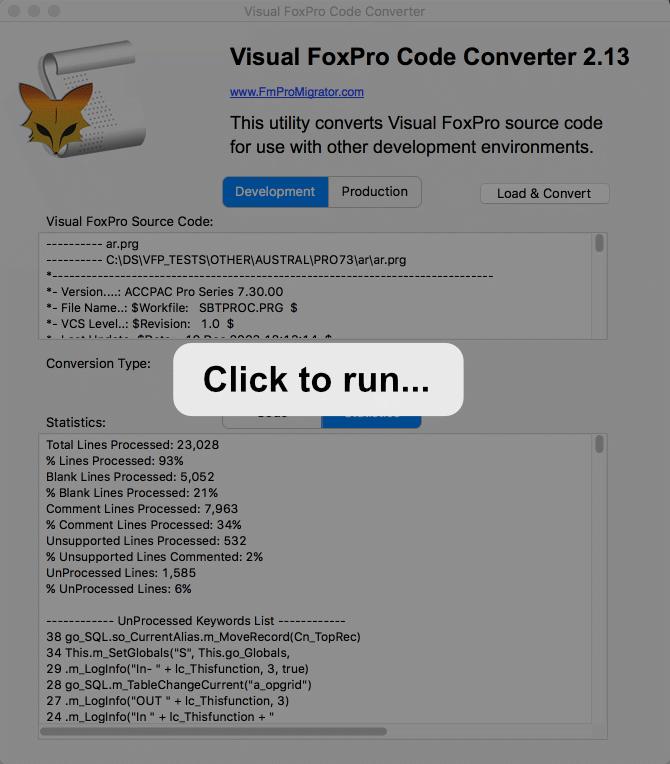 Visual FoxPro Code Converter Demo App